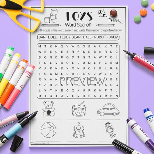 ESL English Kids Toys Word Search Activity Worksheet
