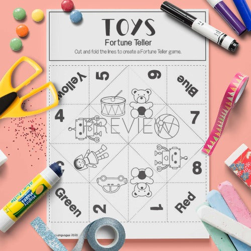 ESL English Toy Fortune Teller Craft Activity Worksheet