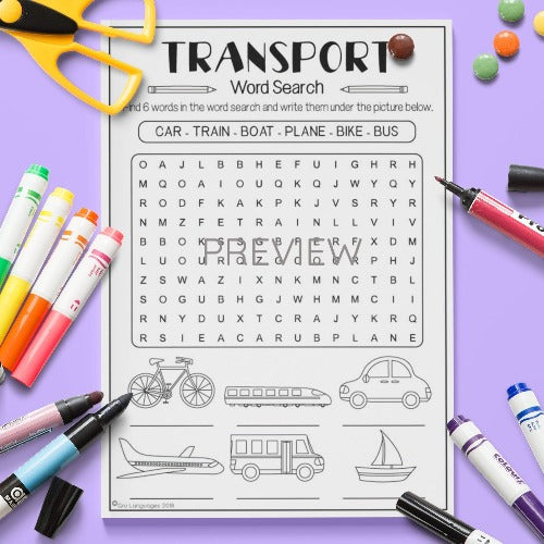 ESL English Kids Transport Word Search Worksheet
