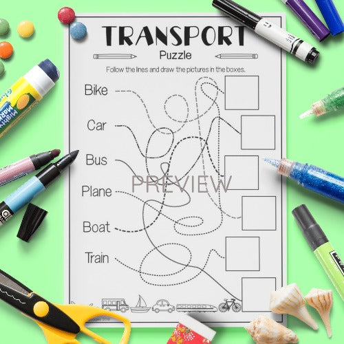 ESL English Kids Transport Puzzle Worksheet