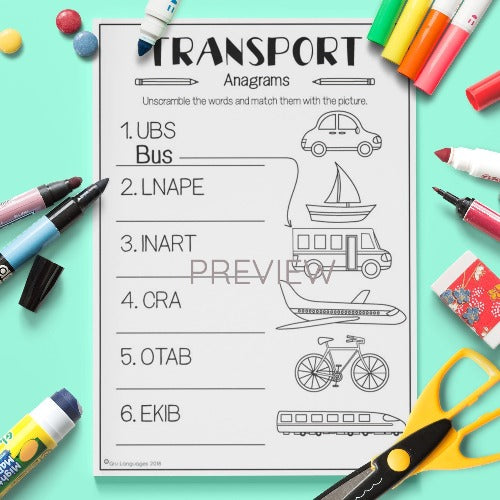 ESL English Kids Transport Anagrams Worksheet