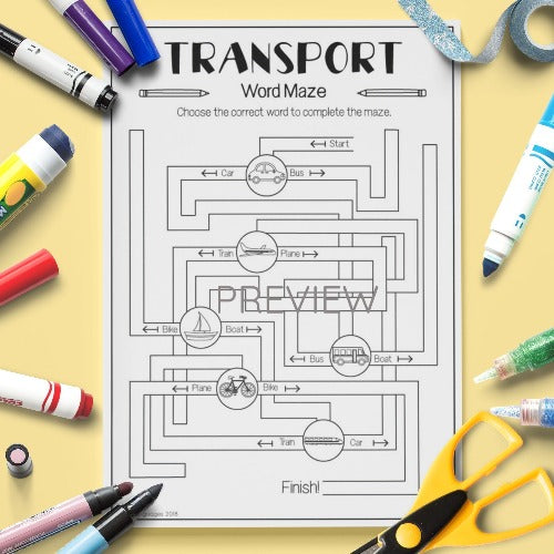 ESL English Kids Transport Maze Worksheet