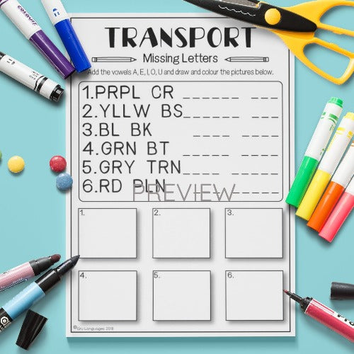 ESL English Kids Transport Missing Letters Worksheet