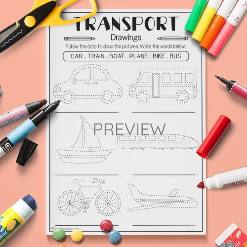 ESL English Kids Transport Drawings Worksheet