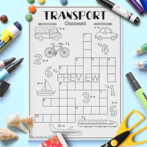 ESL English Kids Transport Crossword Worksheet