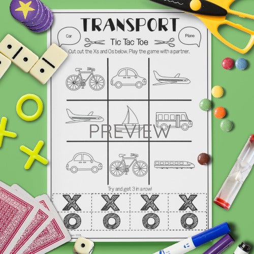 ESL English Kids Transport Tic Tac Toe Activity Worksheet