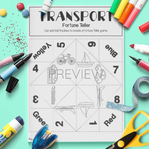 ESL English Transport Fortune Teller Craft Activity Worksheet