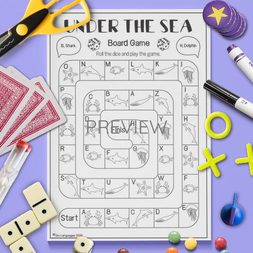 ESL English Kids Under The Sea Board Game Activity Worksheet