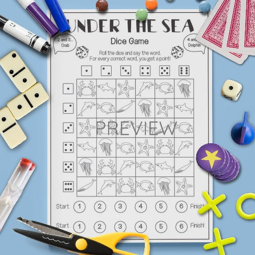 ESL English Kids Under The Sea Dice Game Activity Worksheet
