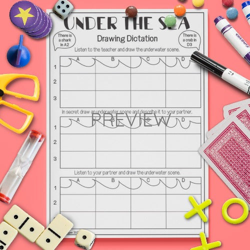 ESL English Kids Under The Sea Drawing Dictation Activity Worksheet