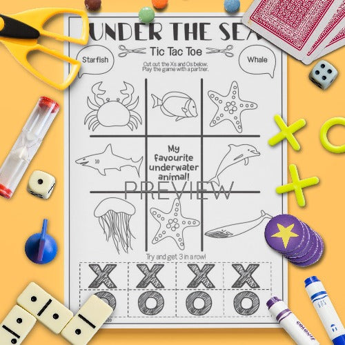 ESL English Kids Under The Sea Tic Tac Toe Game Activity Worksheet