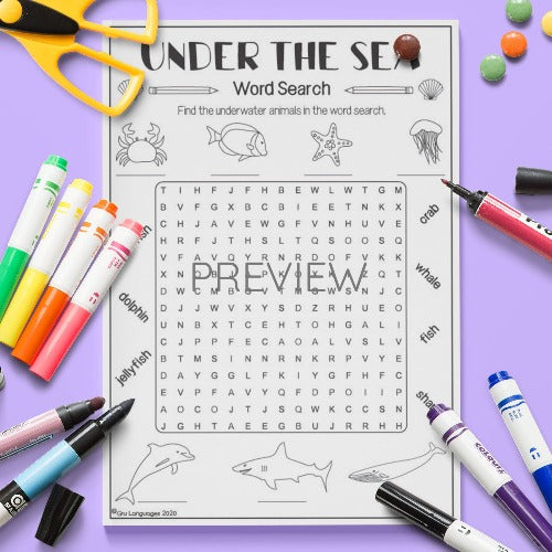 ESL English Kids Under The Sea Word Search Activity Worksheet