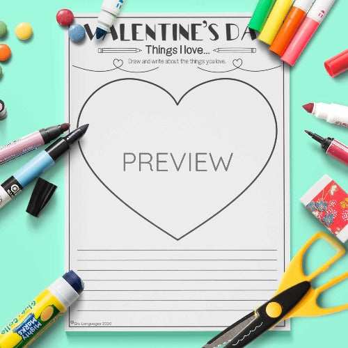 ESL English Kids Valentine's Day Writing Activity Worksheet
