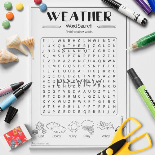 ESL English Kids Weather Word Search Worksheet