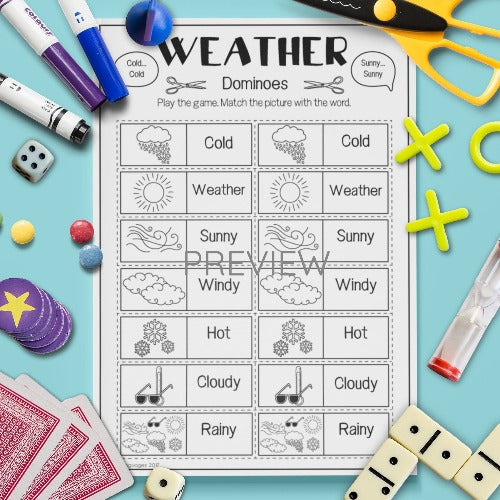 ESL English Kids Weather Dominoes Game Worksheet