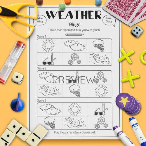 ESL English Kids Weather Bingo Game Worksheet