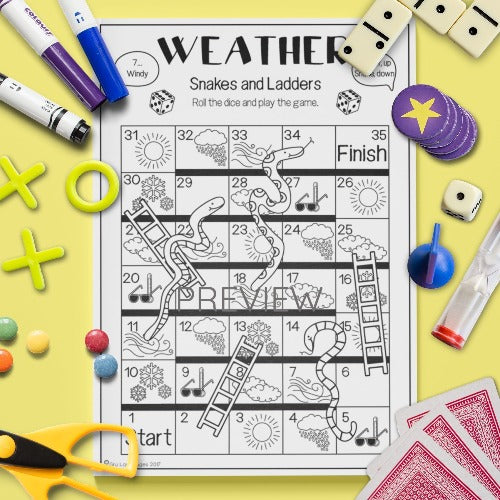 ESL English Kids Weather Snakes and Ladders Game Worksheet