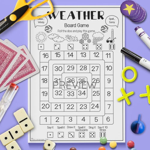 ESL English Kids Weather Board Game Worksheet