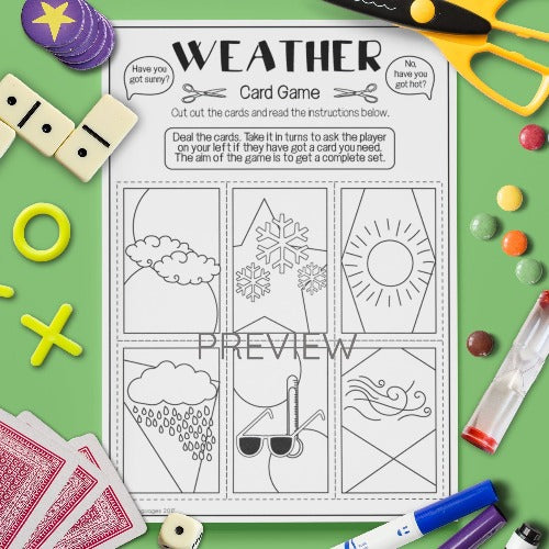 ESL English Kids Weather Card Game Worksheet