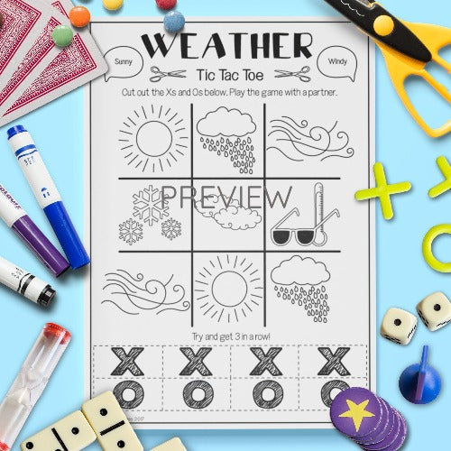 ESL English Kids Weather Tic Tac Toe Game Worksheet