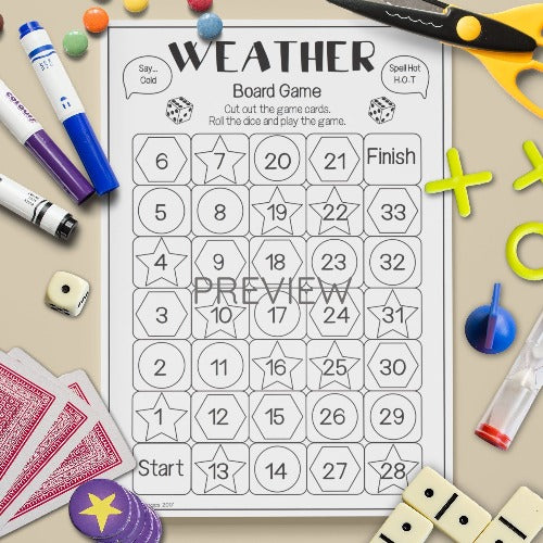 ESL English Kids Weather Spell Read Say Board Game Worksheet