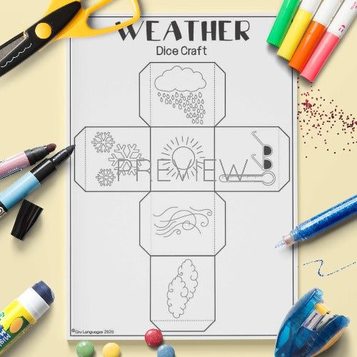 ESL English Weather Dice Craft Activity Worksheet