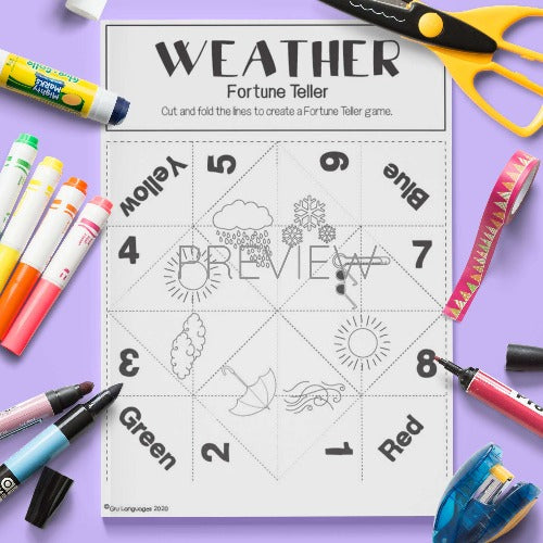 ESL English Weather Fortune Teller Craft Activity Worksheet