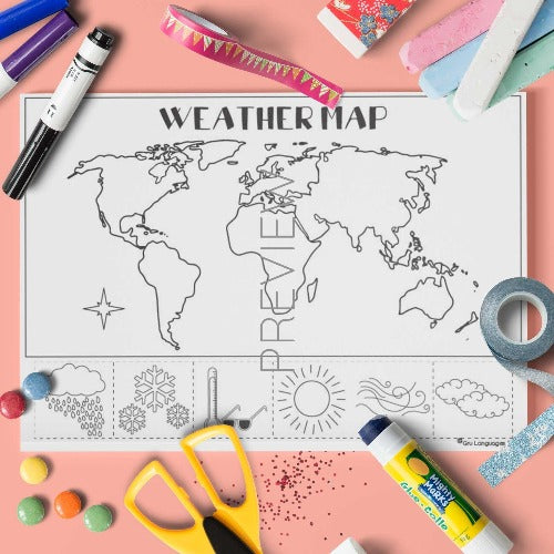 ESL English Weather Map Craft Activity Worksheet