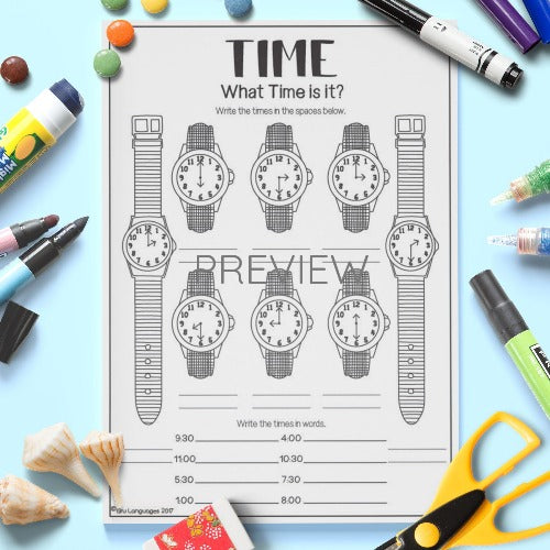 ESL English Kids What Time Is It? Activity Worksheet