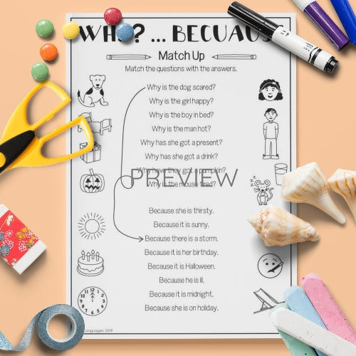ESL Kids English Why Because Activity Worksheet