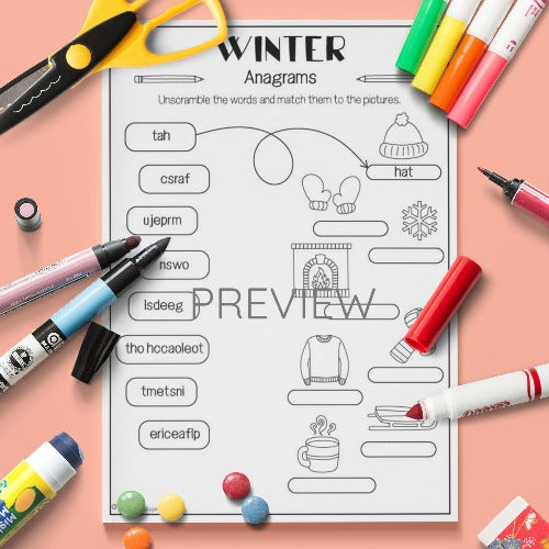 ESL English Kids Winter Anagrams Activity Worksheet