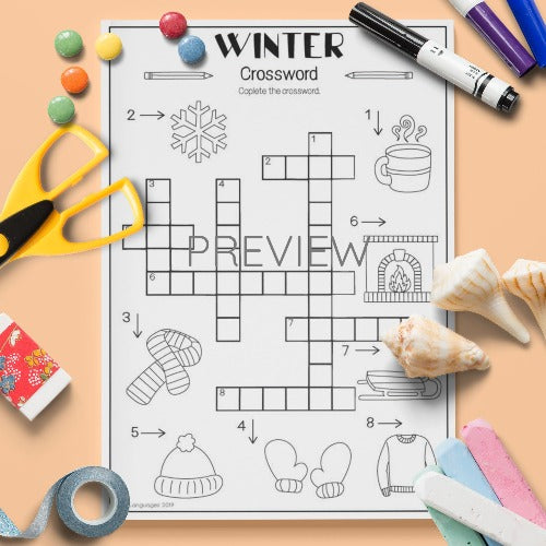 ESL English Kids Winter Crossword Activity Worksheet