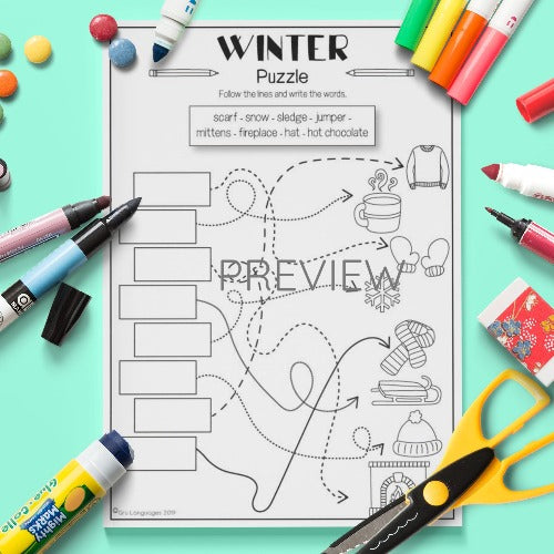 ESL English Kids Winter Puzzle Activity Worksheet