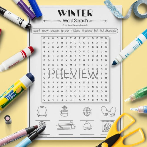 ESL English Kids Winter Word Search Activity Worksheet