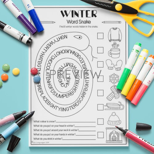 ESL English Kids Winter Word Snake Activity Worksheet