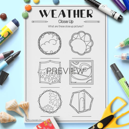 ESL English Kids Weather Close Up Worksheet