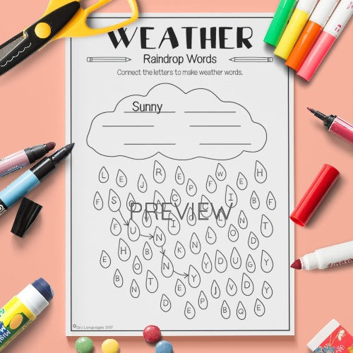 ESL English Kids Weather Raindrop Words Worksheet