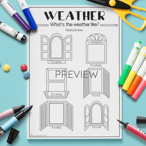ESL English Kids Weather Looking Out The Window Worksheet