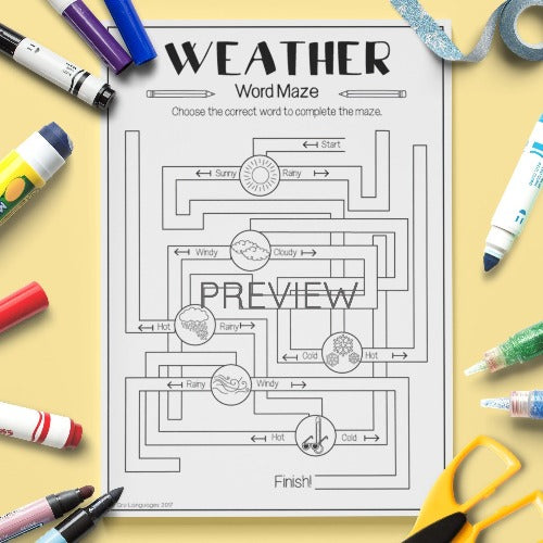 ESL English Kids Weather Maze Worksheet