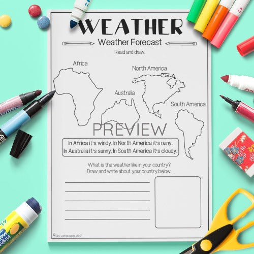 ESL English Kids Weather Weather Forecast Worksheet