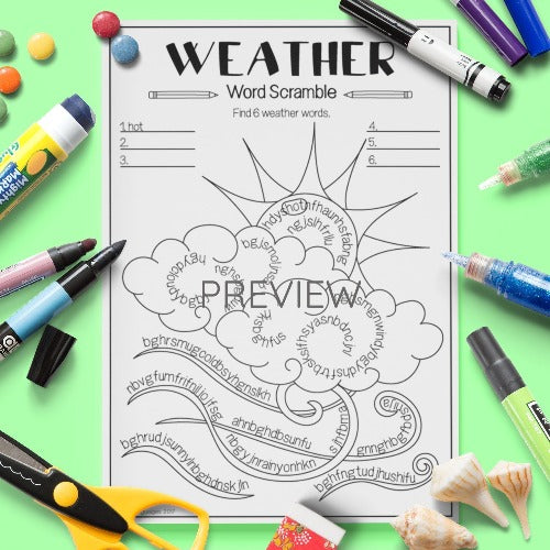 ESL English Kids Weather Word Scramble Worksheet