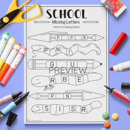 ESL English Kids School Missing Letters Worksheet