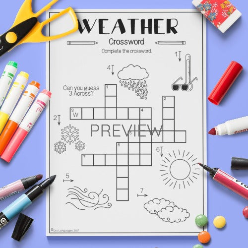 ESL English Kids Weather Crossword Worksheet