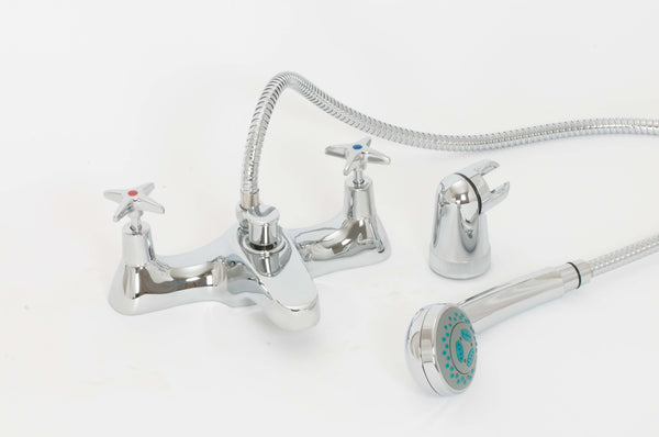 Skara Cross Top Deck Bath Shower Mixer And Shower Kit