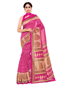 Kupinda art silk saree with unstiched blouse - pink