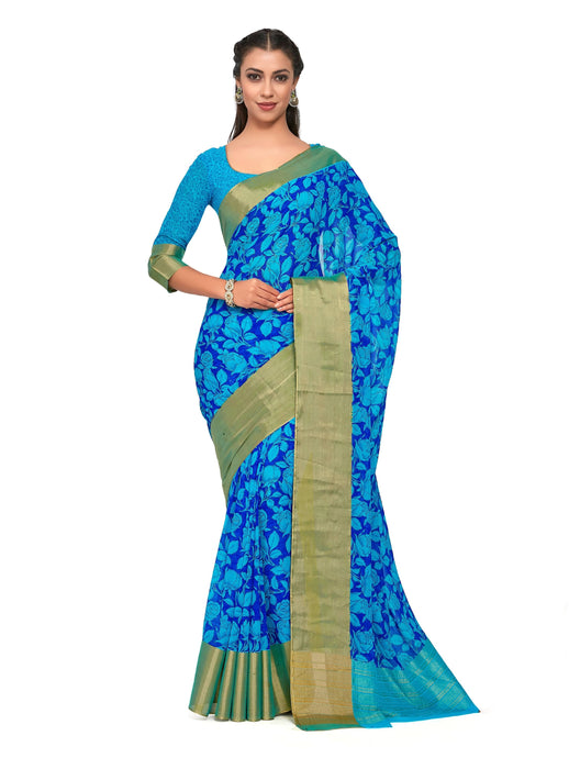 Kupinda Chiffon Saree With Blouse Piece - kupindaindia