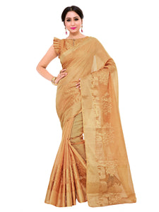 Kupinda lenin silk saree with unstiched blouse - beige