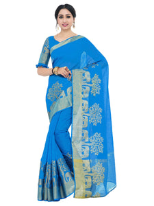 Kupinda lenin silk saree with unstiched blouse - blue
