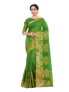 Kupinda lenin silk saree with unstiched blouse - green