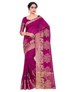 Kupinda lenin silk saree with unstiched blouse - magenta